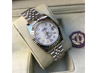 new boxed all silver pearl faced ladies rolex datejust whatsapp to see all available