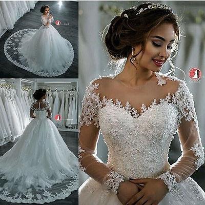 New White/Ivory Wedding dress Bridal Gown Custom Size 6-8-10-12-14-16++