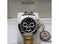 New Mens bagged Two Tone Bracelet black dial automatic sweeping Rolex daytona watch