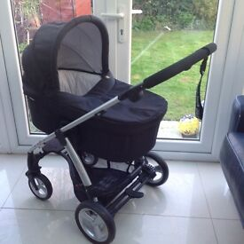 Mamas & Papas Black & Candy Stripe Pram and Push Chair Including Cosy Toes and Rain Cover