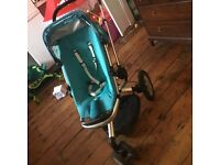 Quinny buzz, turquoise . Forward and rear facing, with hood