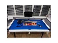 Blue skin pub size pool table