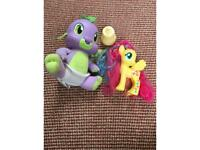 My little pony and talking dragon.