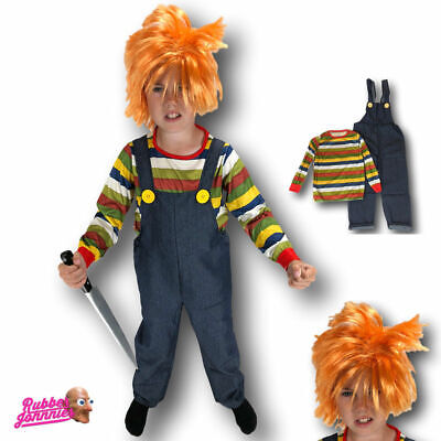 KIDS BOYS CHILDS HORROR CHUCKY DOLL HALLOWEEN FANCY DRESS CHILD COSTUME PLAY