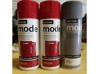 Rust-Oleum 400ml Mode Ultra High Gloss Enamel Spray Paint. 2x Carmine Red. 1x primer.