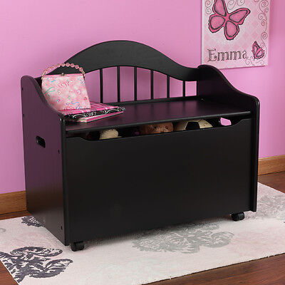 KIDKRAFT BLACK LIMITED EDITION WOODEN TOY BOX STORAGE BENCH CHEST ON CASTERS NEW
