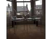 Ghost chair Louis clear transparent pair stackable chairs