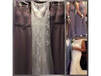 Size 12-14 wedding dress and size 8 and 14 bridesmaids dresses bril condition lovely to wear wore 1s