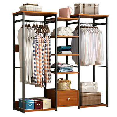 Garment Rack Heavy Duty Closet System Clothes Hanger Closet Organizer Home Shelf