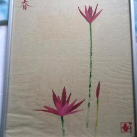 Framed signed Chinese floral watercolour painting