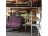 Single Metal Bed Frame with Futon, Desk and Chair - Excellent Condition