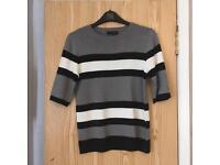 Black White Grey Stripe Top