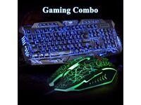 Illuminated USB Wired Gaming Keyboard and Mouse Bundles Set