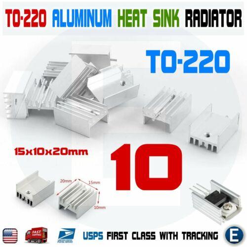 10pcs TO-220 Silver Aluminum Cooling Heat Sink Heatsink Transistor Radiator USA