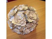 Beige metal rose head ceiling light shade