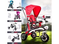 RiiRoo 4 In 1 Kids Children Trike Tricycle 3 Wheel Ride Bike Parent Handle Bar