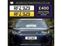 RFZ 929 Number plate / Cherished registration - IN2REGISTRATIONS-(Car,Van,Lorry,Motorcycle)