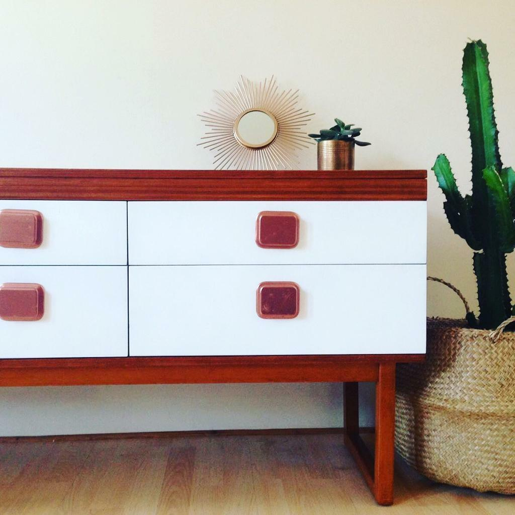 Vintage sideboard upcycled scandinavian style with 6 drawers