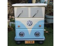 Retro VW Camper Van Style Pine Chest of Drawers / Bedside Table - Pale Blue