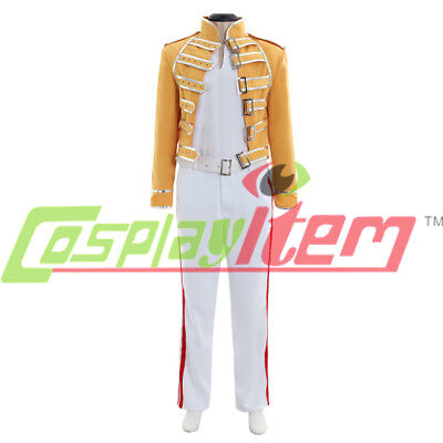 Queen Lead Vocals Freddie Mercury Cosplay costume queen band yellow outfit suit - Freddie Mercury Outfit
