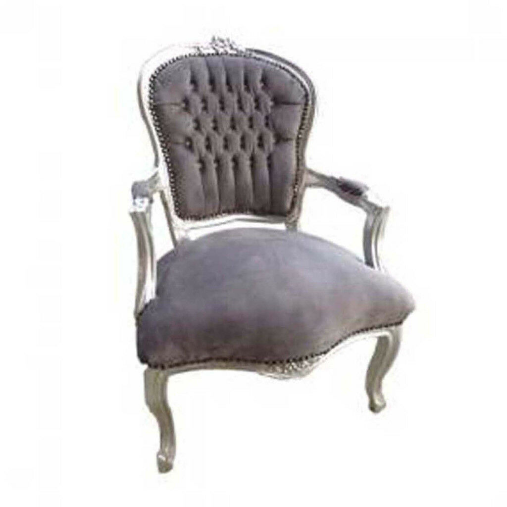 Gentil Grey Velvet French Louis Armchair