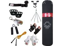 TurnerMAX Boxing Set Punch bag gloves skipping rope wraps hand gripper knuckle protector chain