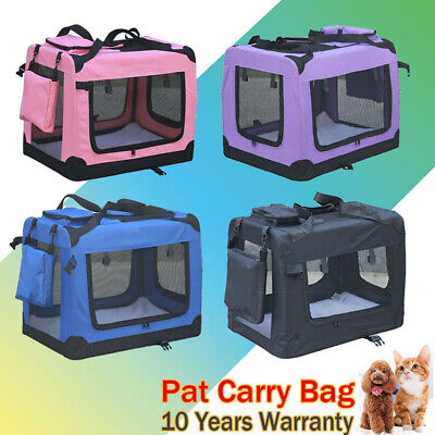 Soft PET CARRIER Folding Dog Cat Animal Travel Cage Bag Tote Portable Crate Box