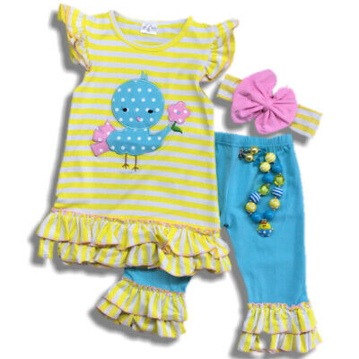 SALE! Girl Easter Chick Blue Ruffled Boutique Outfit Toddler Kids Clothing
