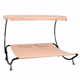 *FREE UK DELIVERY** Garden Sun Lounger Day Bed with Canopy and Pillows