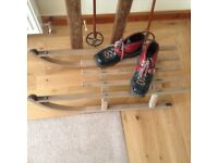 All set for snow! Wooden skis & poles, wooden sledge and boots ideal for a winter display