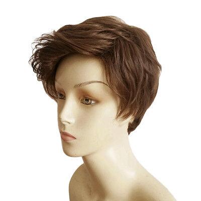 Männer schöne männliche braune kurze lockige Haare Perücke / Perücken