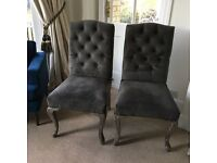 Luxury grey velvet dining chairs India Jane