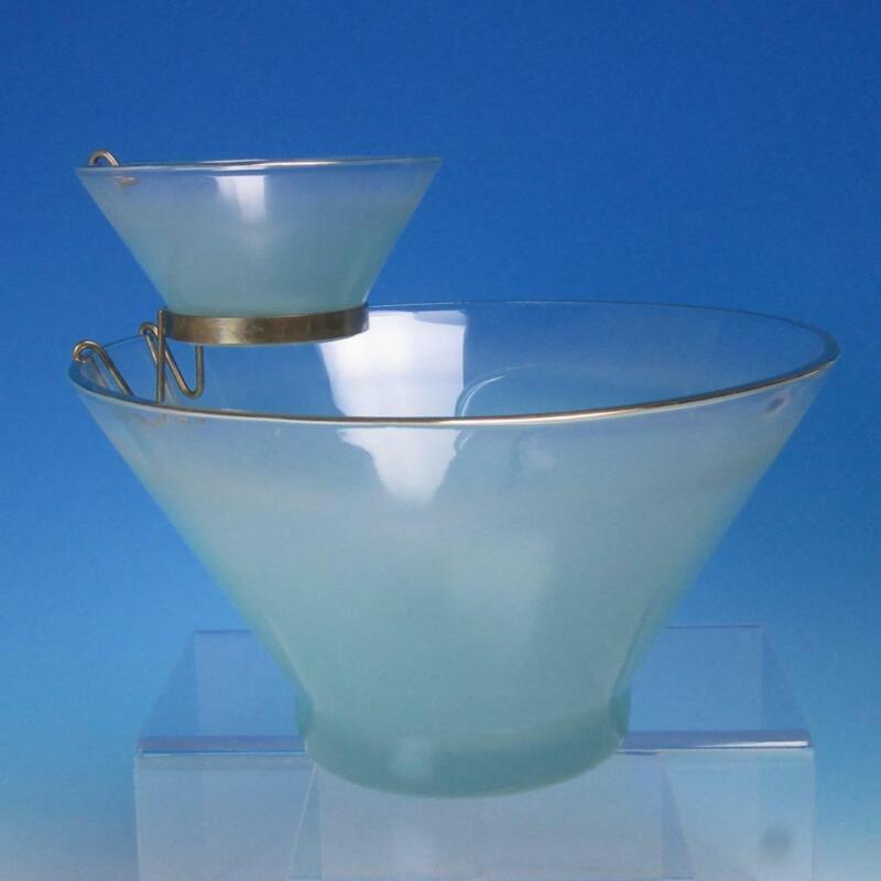 West Virginia Glass - Aqua Blue Blendo Chip & Dip Set - Mid-Century Modern