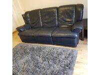 3 Seater Sofa Blue Leather Recliners