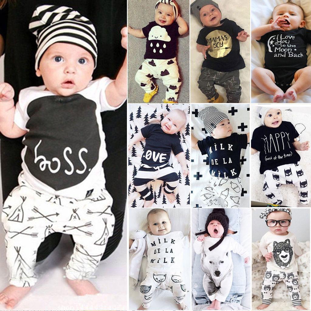 baby kinder m dchen jungen t shirt top hose kombinationen set kleidung outfit ebay. Black Bedroom Furniture Sets. Home Design Ideas