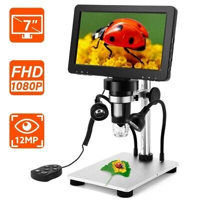 "Handheld 7"" LCD 1080P Digital Microscope 12MP Video Amplification Camera +Remote"