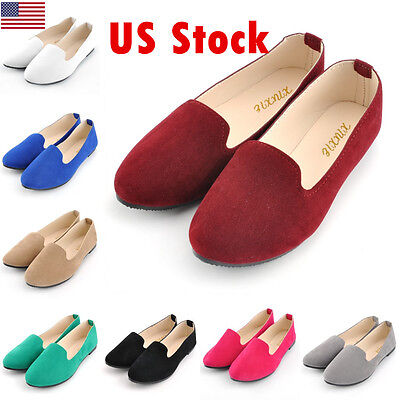(New Women Lady Boat Shoes Casual Flat Ballet Slip On Flats Loafers Single Shoes)