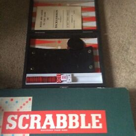 Travel Backgammon set and scrabble board game