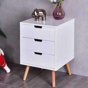 White Side End Table Nightstand w/ 3 Drawers Mid-Century Accent Wood Furniture - BRAND NEW - FREE SHIPPING