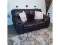 2 Seater Leather Brown Sofa FREE
