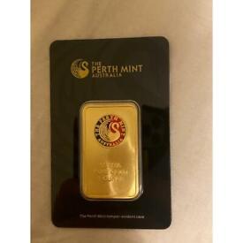 24ct gold Perth mint 1 ounce bullion bar (for sale on multiple websites)