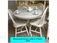 Pedestal round table & 4 Chairs professionally painted