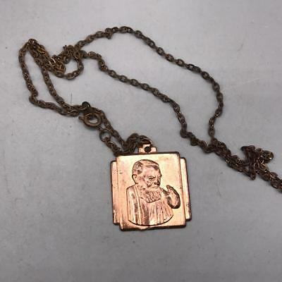 Vintage Pray For Us Necklace & Religious Pendant