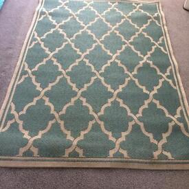Carpet Rug morrocan tiles. Duck egg 120x170