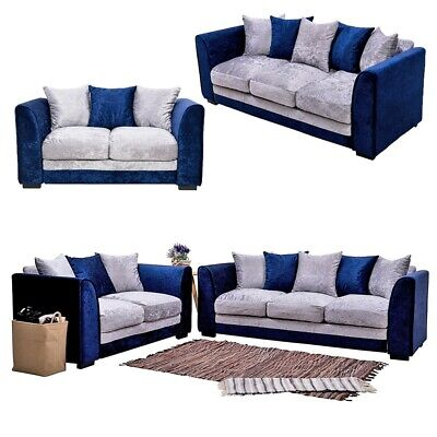 2, 3 Seater Blue Silver Crushed Velvet Fabric Sofa Armchair Couch Padded Settee