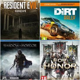 PS4 Resident Evil, For Honor, Dirt Rally, Shadow of Mordor