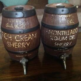 Vintage ceramic sherry casks