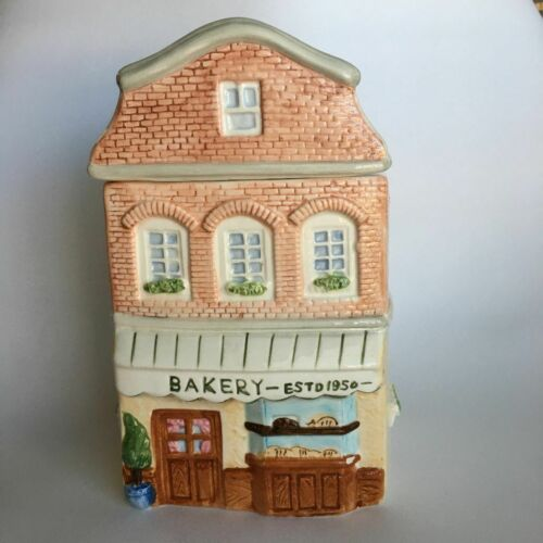 Vintage Ceramic Bakery Cookie Jar With Building Details On All Sides