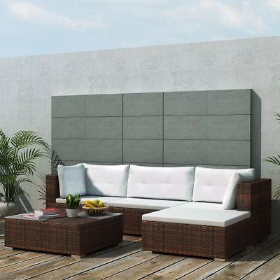 vidaXL 14 Piece Garden Sofa Set Brown Poly Rattan