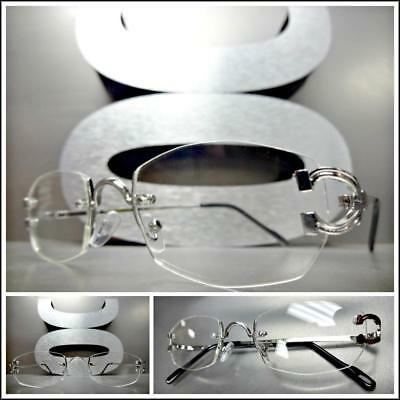 Classy Elegant Sophisticated Style Clear Lens EYE GLASSES Silver Rimless (New Style Spectacles)